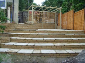 Garden in Rochester - after - steps using Indian Sandstone