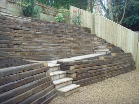 Garden wall using sleepers